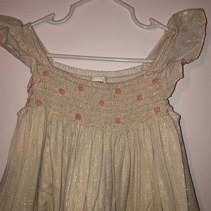 Old navy cream coloured dress / rose gold threads